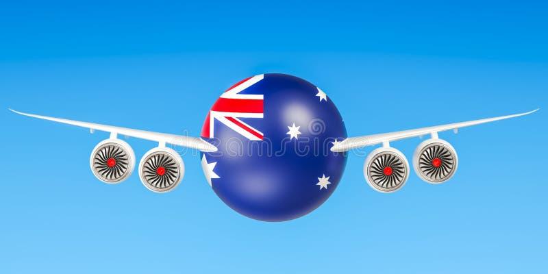 Australische luchtvaartlijnen en het vliegen ` s, vluchten aan het concept van Australië vector illustratie