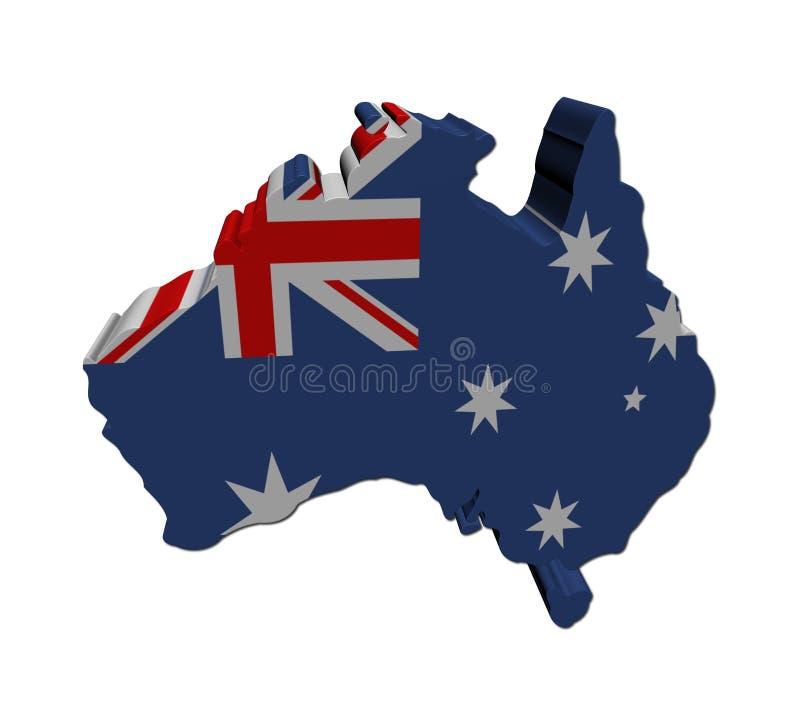 Australische Markierungsfahne der Karte 3d lizenzfreie abbildung