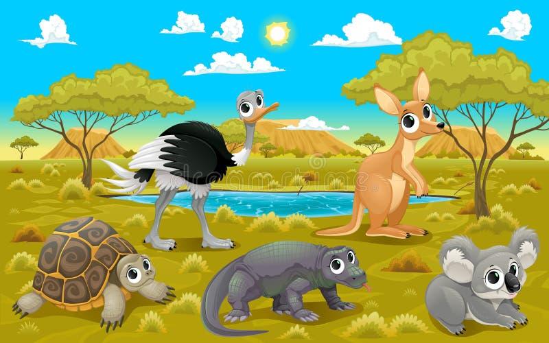 Australische Tiere in einer Naturlandschaft stock abbildung