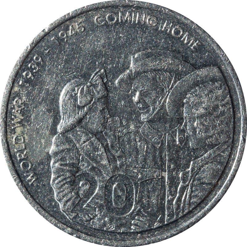 Australische twintig-cent het muntstuk die de 60ste verjaardag van het eind van Wereldoorlog 2 herdenken stock fotografie