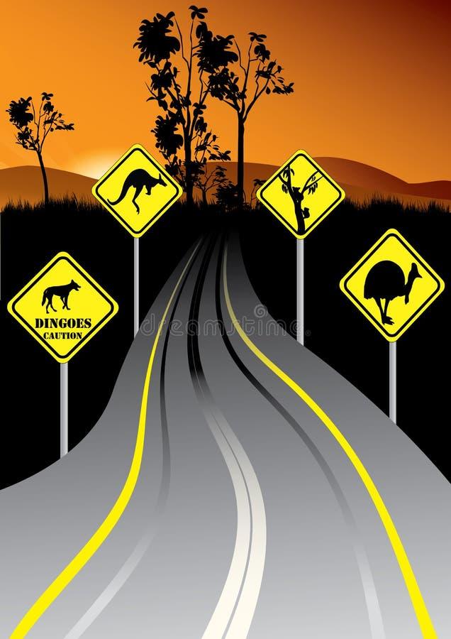 Australische verkeersteken naast de weg