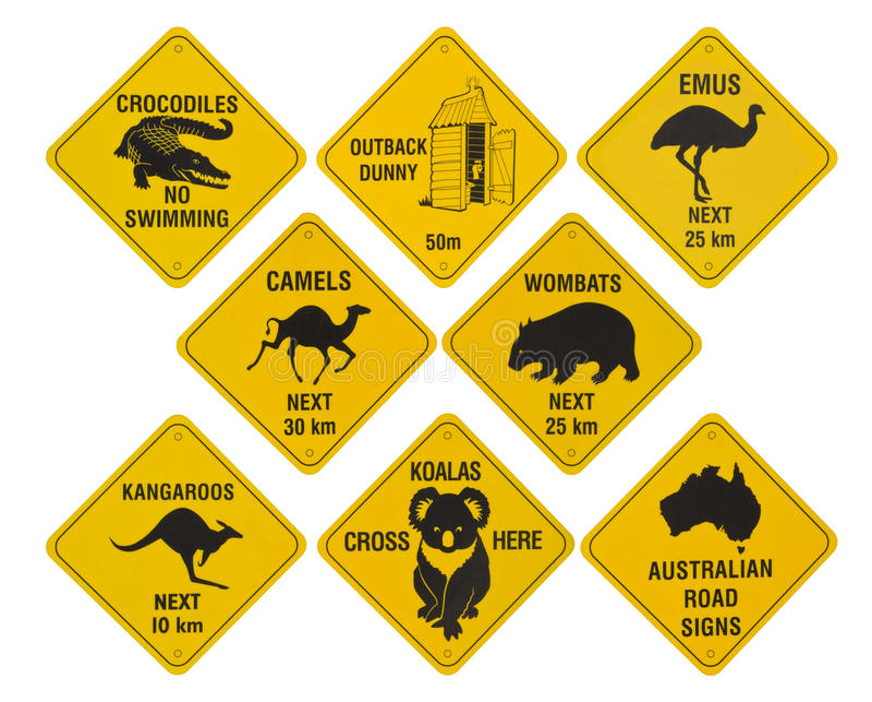 Australische verkeerstekeninzameling stock fotografie