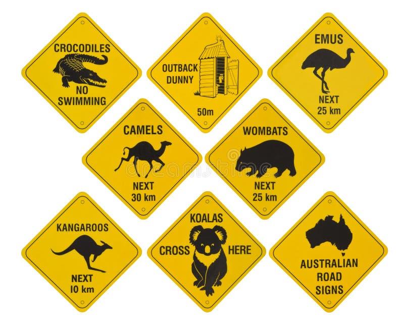Australische Verkehrsschildansammlung stockfotografie