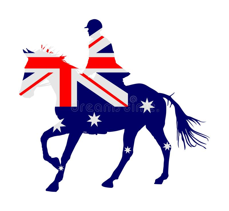 Australische vlag over elegant het rennen paard in galop vectorillustratie die op wit wordt geïsoleerd Renbaan vermaak en het gok stock illustratie
