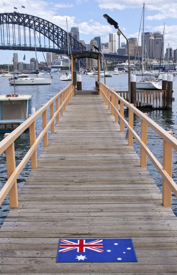 Australische Vlag Sydney Harbour Bridge royalty-vrije stock foto