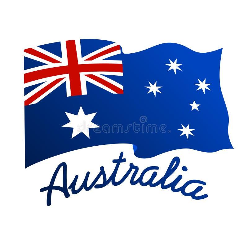 Australische vlag in wind met woord Australië vector illustratie