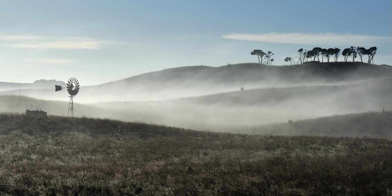 Australische windmolen in mist royalty-vrije stock afbeeldingen