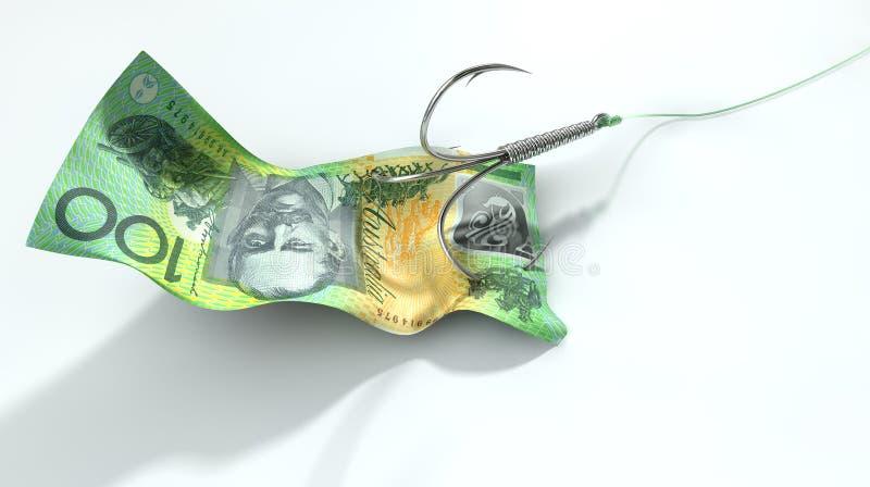 Australischer Dollar-Banknote angelockter Haken lizenzfreies stockfoto