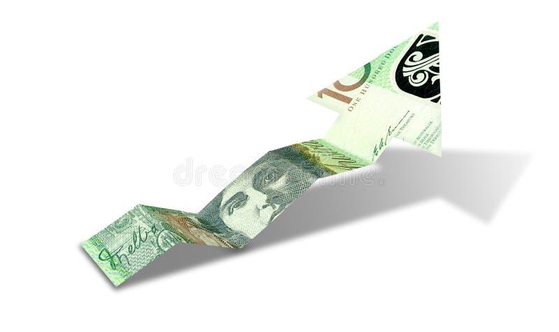 Australischer Dollar-Banknoten-aufwärts Tendenz-Pfeil lizenzfreie stockfotos