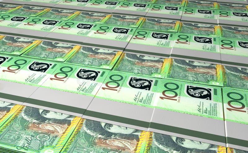Australischer Dollar Bill Bundles Laid Out stockfotografie