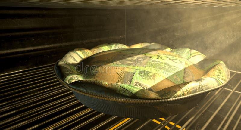 Australischer Dollar-Geld-Torten-Backen im Ofen stockfotografie