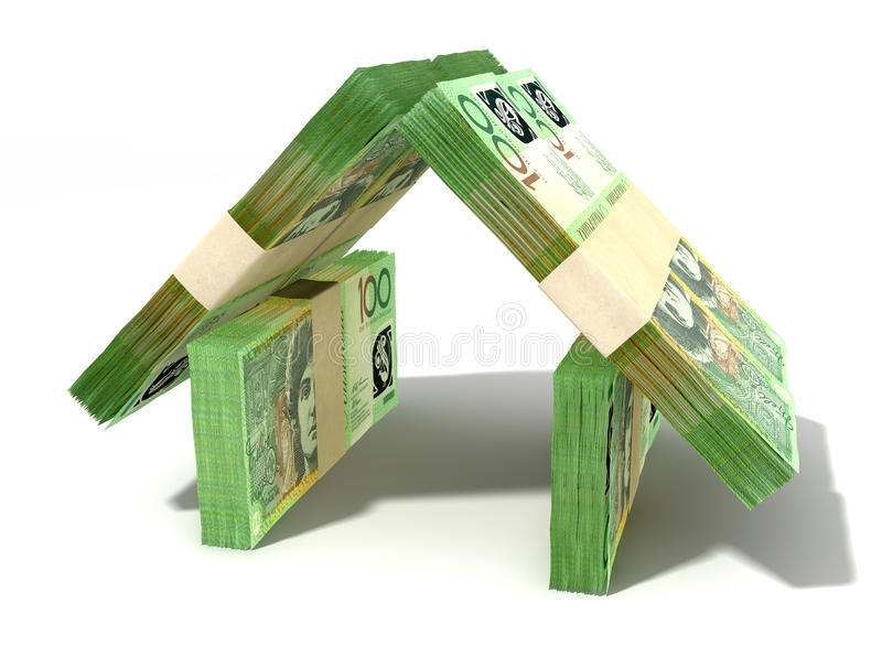 Australischer Dollar merkt Haus-Perspektive vektor abbildung
