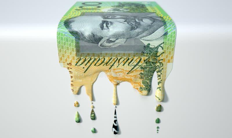 Australischer Dollar-schmelzende Bratenfett-Banknote lizenzfreie stockbilder