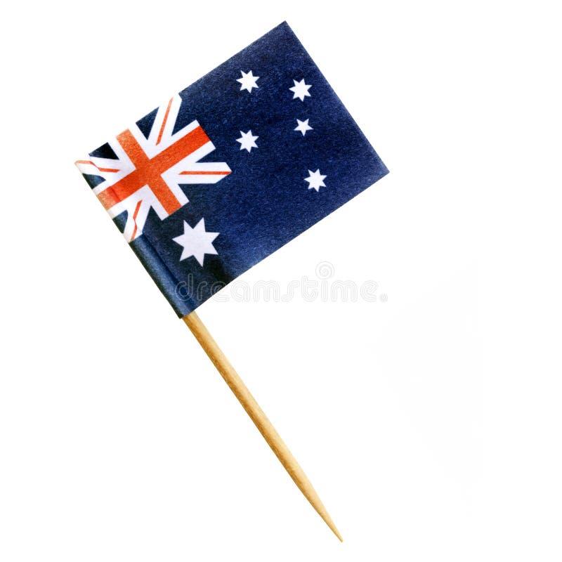 Australischer Flaggen-Zahnstocher lokalisiert auf Weiß mit Weg lizenzfreies stockfoto