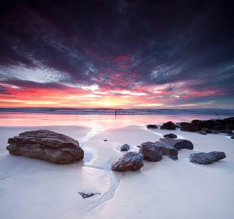 Australischer Meerblick an der Dämmerung auf quadratischem Format lizenzfreies stockbild