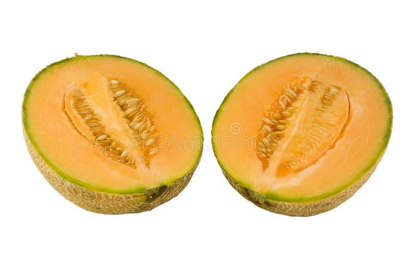 Australisches rockmelon zur Hälfte lizenzfreie stockfotografie