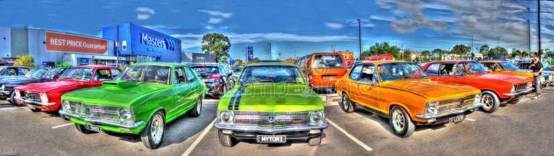 australisk bilpanorama för 70-tal royaltyfri bild