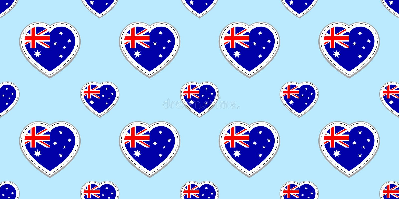 Australisk flaggavektorbakgrund Sömlös modell för Australien nationsflagga Tomma glansiga etiketter för vektor Förälskelsehjärtas stock illustrationer