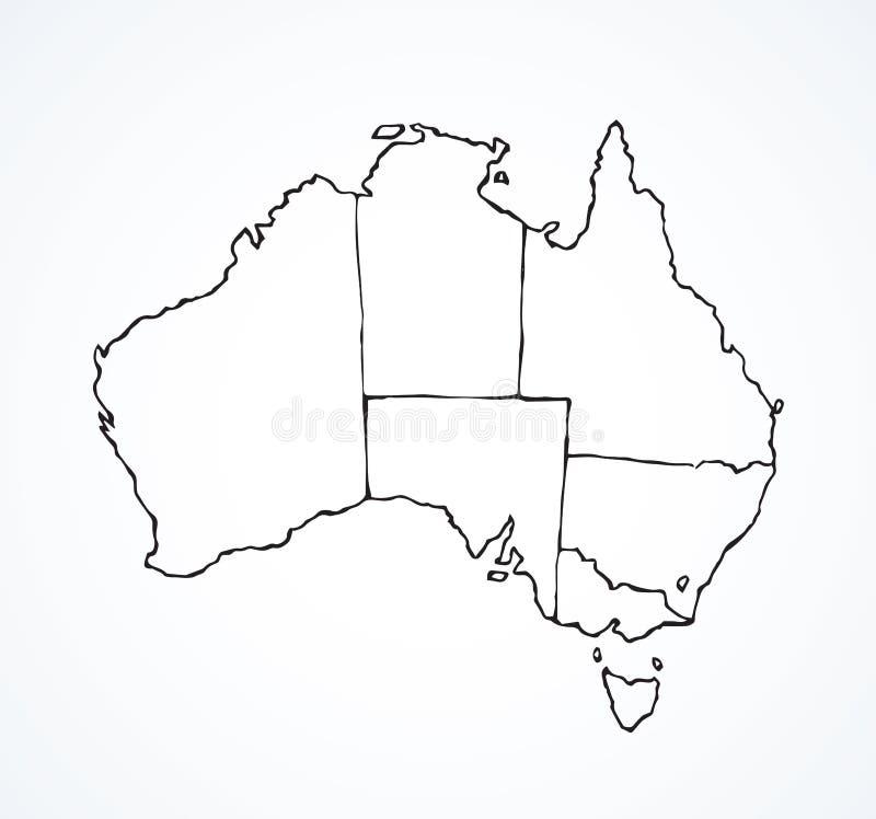 Australisk kontinent med konturerna av länder bakgrund som tecknar den blom- gräsvektorn stock illustrationer