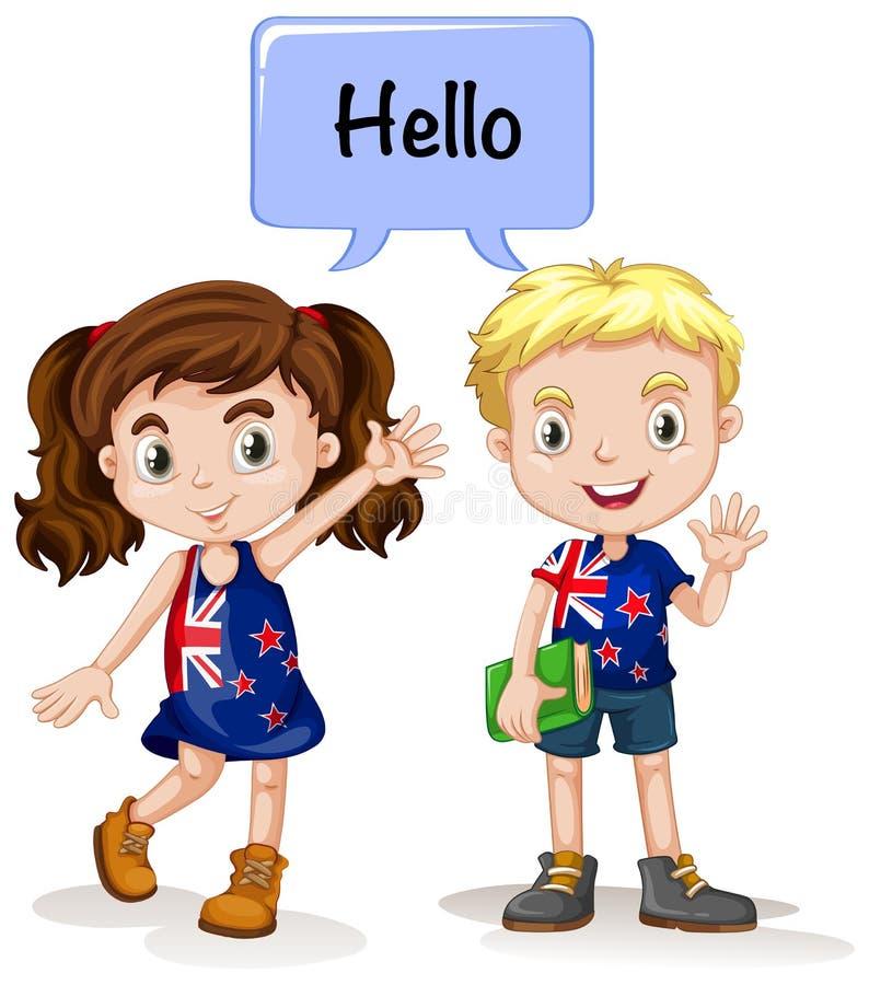 Australisk pojke och flicka som säger hälsningar stock illustrationer