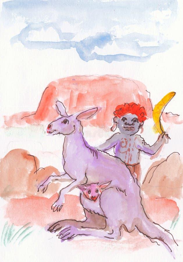 Australisk unge med en känguru fotografering för bildbyråer