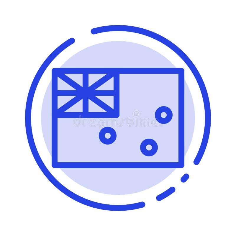 Australiskt Australien, land, blå prickig linje linje symbol för flagga vektor illustrationer