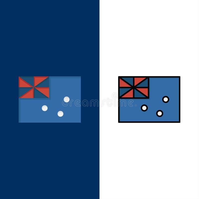 Australiskt Australien, land, flaggasymboler Lägenheten och linjen fylld symbol ställde in blå bakgrund för vektorn vektor illustrationer