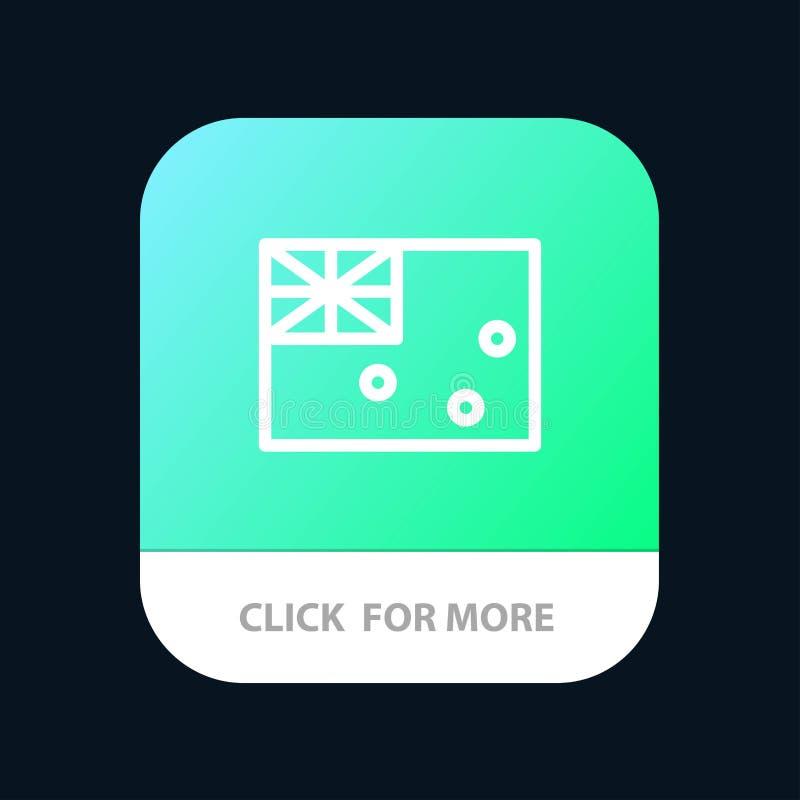 Australiskt Australien, land, mobil Appknapp för flagga Android och IOS-linje version stock illustrationer