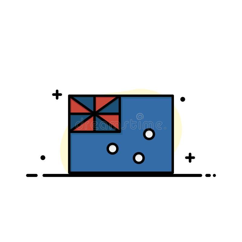 Australiskt Australien, landet, plan linje för flaggaaffär fyllde mallen för symbolsvektorbanret vektor illustrationer