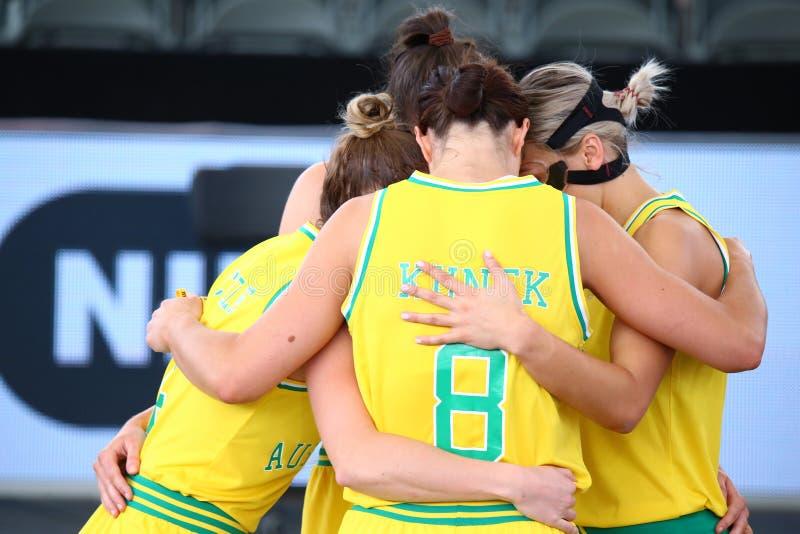 Australiskt nationellt lag för basket 3x3 fotografering för bildbyråer