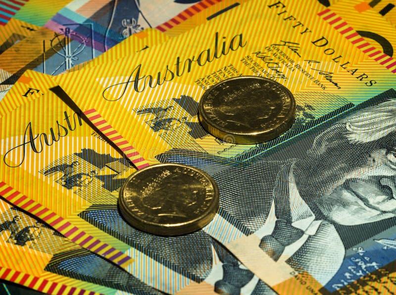 Australiskt pengarslut upp på ord royaltyfri bild