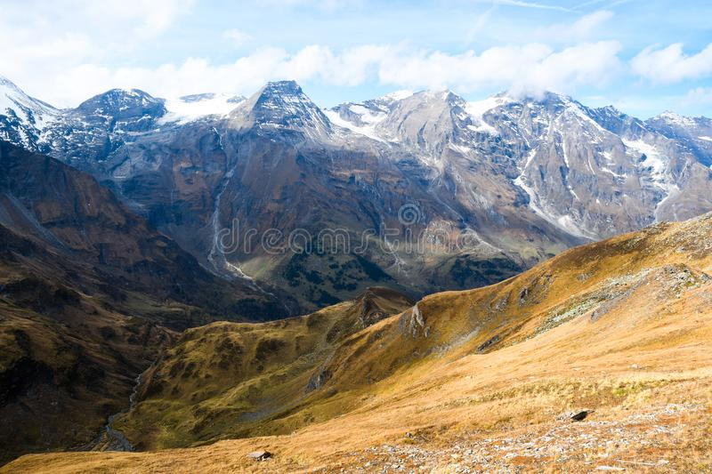 Austria Alps from the Grossglockner high Alpine Road in autumn. Austria, Europe. Landscape highway royalty free stock image