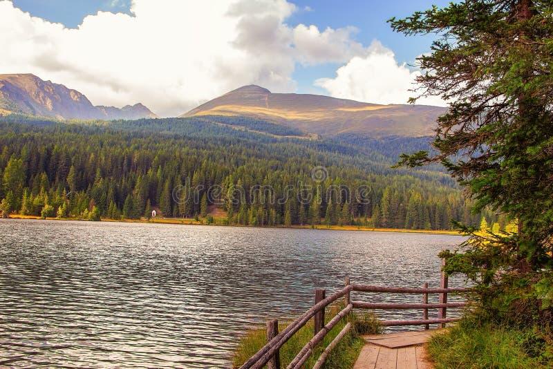 Austria Alps landscape panorama with mountain lake, Prebersee royalty free stock photos