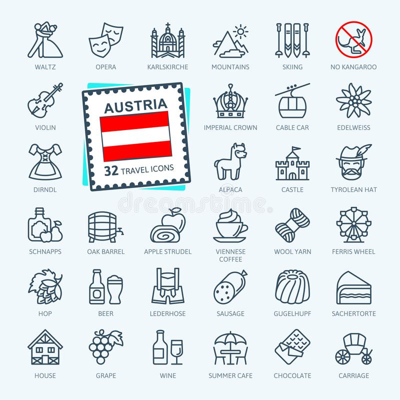 Austria, austríaco, tirolesa - línea fina mínima sistema del icono de la web libre illustration