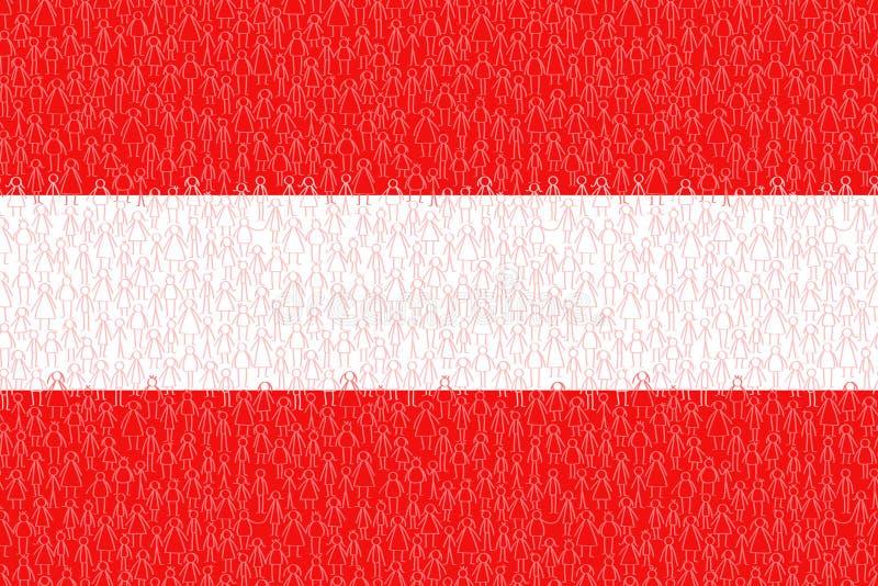Austria, bandera con la gente del palillo, los ciudadanos, el gr?fico conceptual, la muchedumbre de hombres rojos y blancos del p libre illustration
