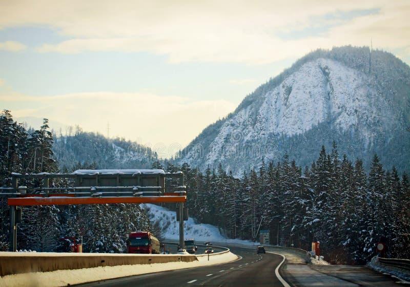 Austria, Beautiful winter landscape along A10 motorway near Salzburg stock image