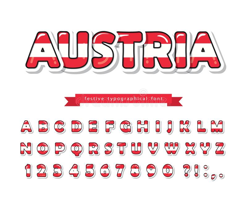 Austria cartoon font. Austrian national flag colors. Paper cutout glossy ABC letters and numbers. Bright alphabet for. Tourism design. Vector illustration vector illustration