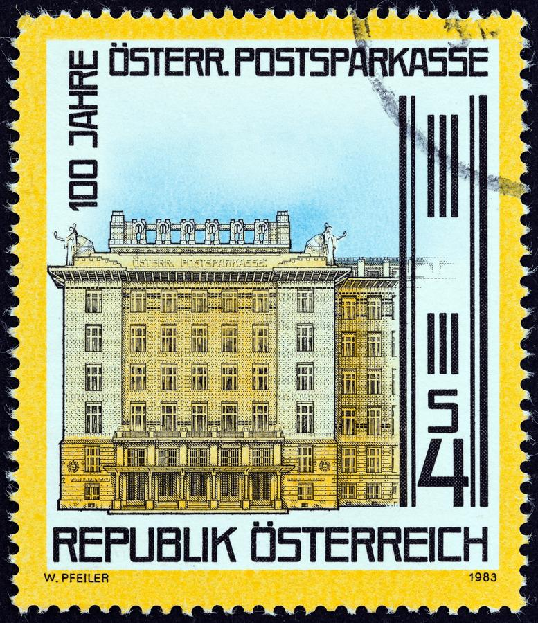 AUSTRIA - CIRCA 1983: A stamp printed in Austria issued for the centenary of Postal Savings Bank shows Bank, Vienna, circa 1983. stock images