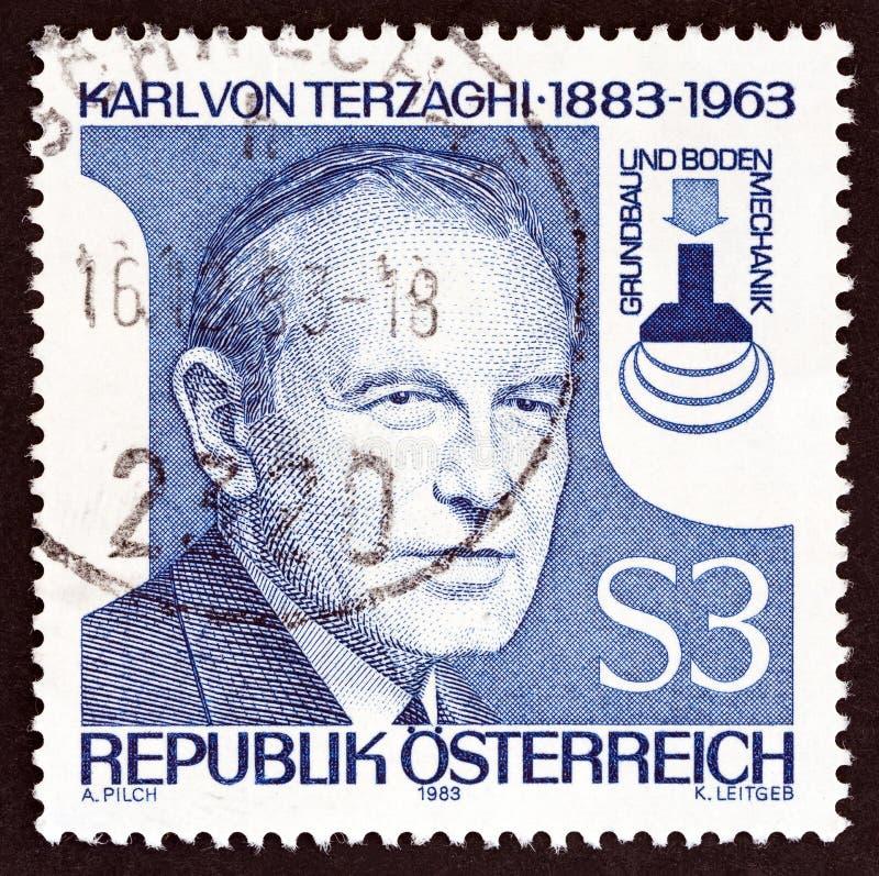 AUSTRIA - CIRCA 1983: A stamp printed in Austria shows Karl von Terzaghi, circa 1983. stock images