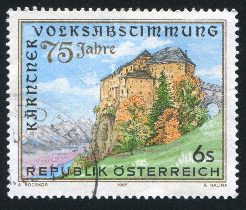 Castle. AUSTRIA - CIRCA 1995: stamp printed by Austria, shows castle, trees, circa 1995 stock images