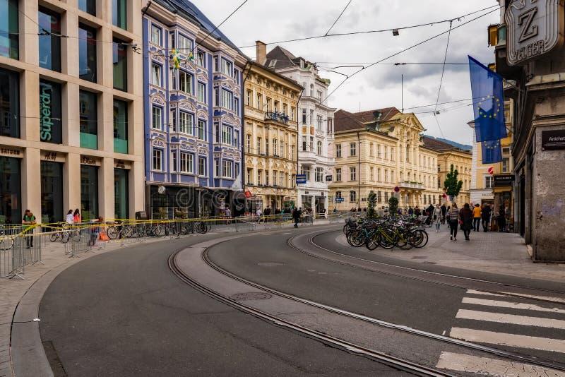 Austria - City Center Streetcar Tracks - Innsbruck. Austria stock image