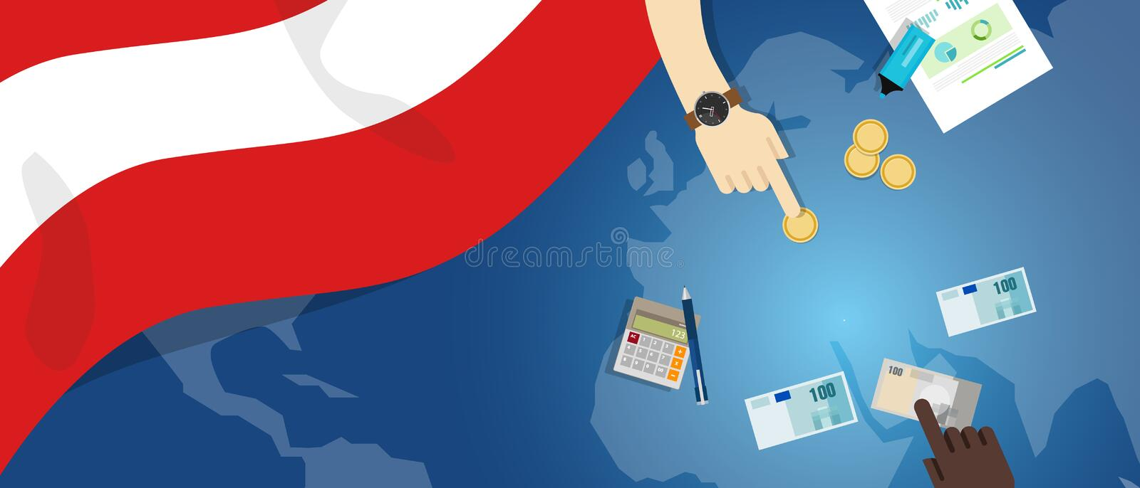 Austria economy fiscal money trade concept illustration of financial banking budget with flag map and currency. Vector stock illustration