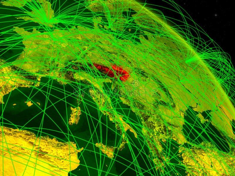 Austria en el globo digital ilustración del vector