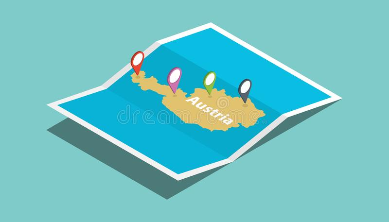 Austria explore maps with isometric style and pin location tag on top vector illustration