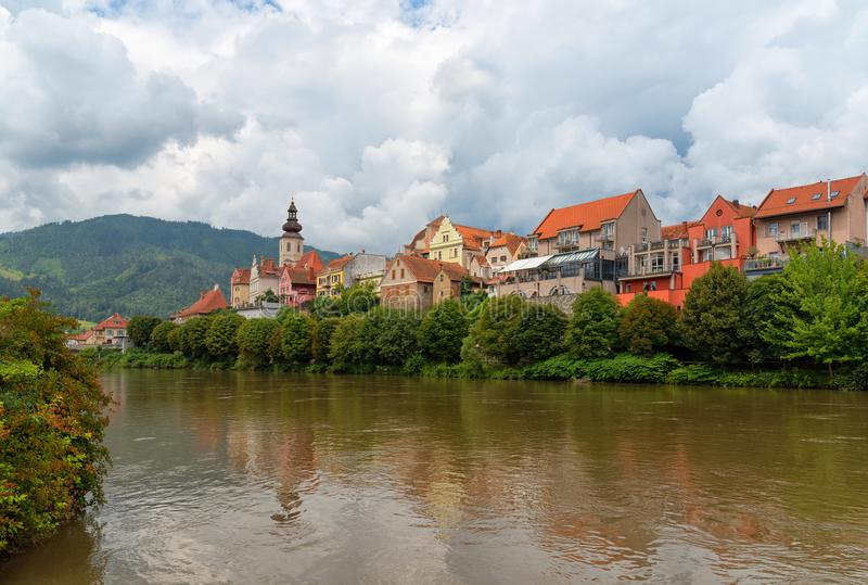 Austria. Frohnleiten. The old town and the river Mur. Panoramic view of Frohnleiten on a stormy day. It is a town in the district of Graz-Umgebung in the royalty free stock photos