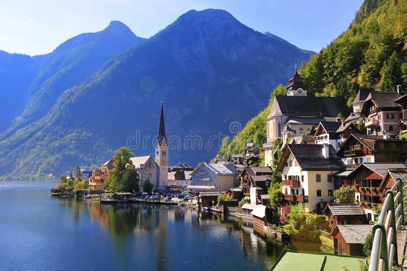 Austria Hallstatt schöne Seeansicht Hallstattlak lizenzfreie stockbilder