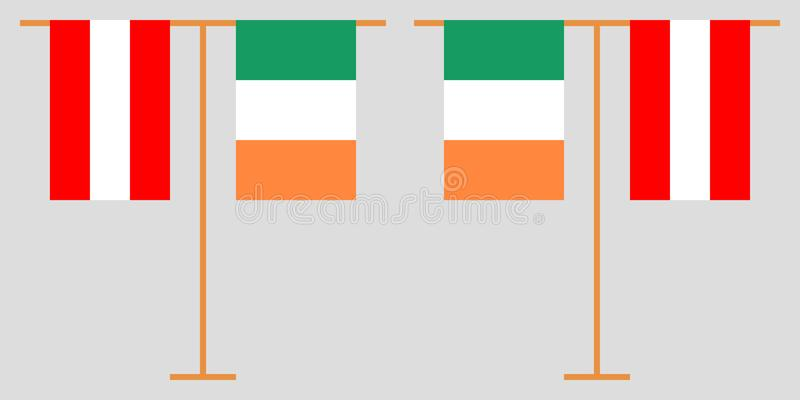 The Austrian and Irish vertical flags. Austria and Ireland. The Austrian and Irish vertical flags. Official colors. Correct proportion. Vector illustrationn vector illustration