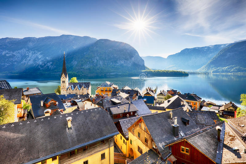 Austria landscape, Hallstatt Alp lake mountain royalty free stock image