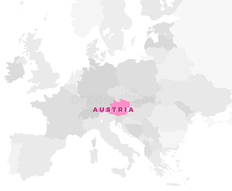Austria Location Modern Detailed Map. All European Countries Without Names.  Vector Template Of Beautiful Flat Grayscale Map Design With Selected  Country ...