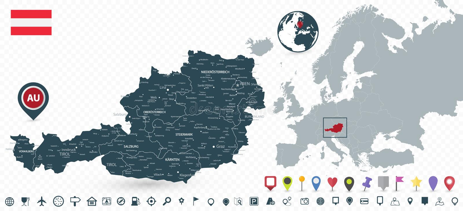 Austria Map and Austria location on Europe Map royalty free illustration